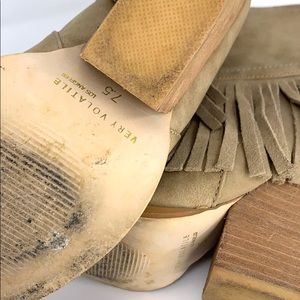 Volatile Shoes - VOLATILE  tan Fringe western heels booties
